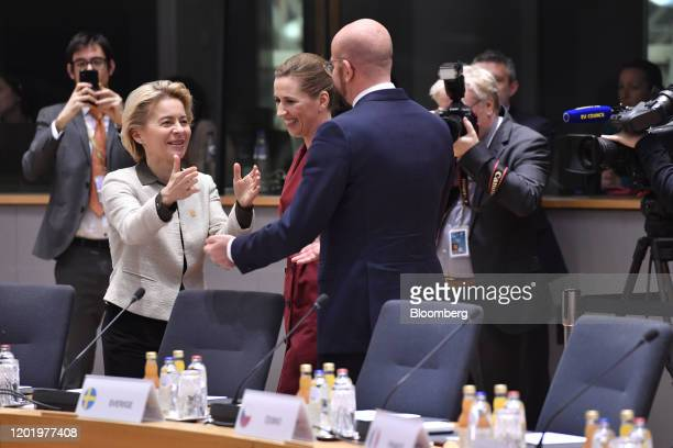 Ursula von der Leyen president of the European Commission left greets Charles Michel president of the European Union as Mette Frederiksen Denmark's...