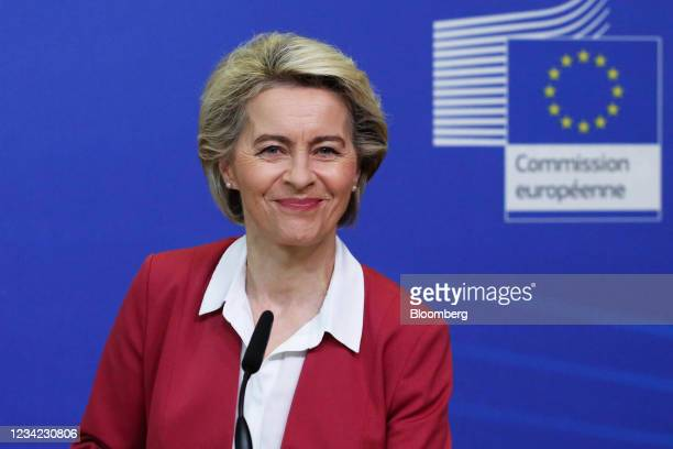 Ursula von der Leyen, president of the European Commission, reacts during a Covid-19 vaccination target news conference in Brussels, Belgium, on...