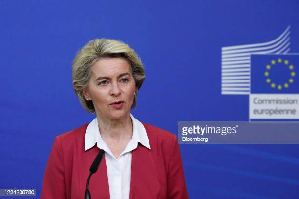 Ursula von der Leyen, president of the European Commission, speaks during a Covid-19 vaccination target news conference in Brussels, Belgium, on...