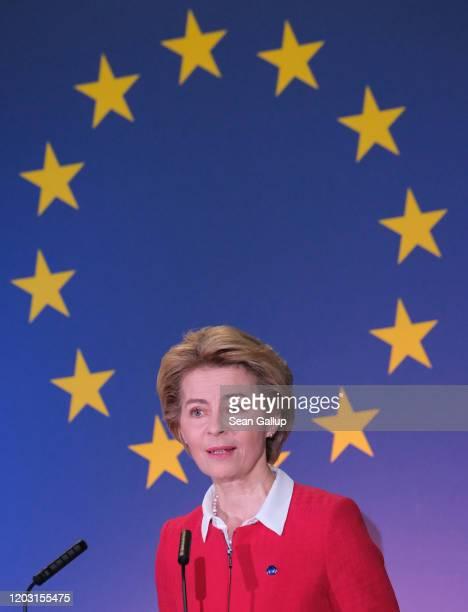 Ursula von der Leyen, President of the European Commission, speaks to the media with David Sassoli, President of the European Parliament, and Charles...