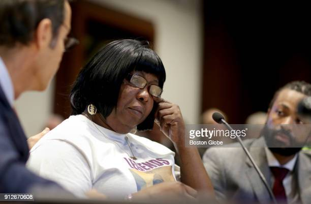 Ursula Ward the mother of Odin Lloyd testifies at a House Judiciary Committee hearing in favor of legislation intended to prevent convictions from...