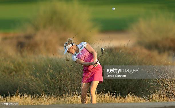 Ursula Wikstrom of Finland plays her third shot on the 10th hole during the delayed second round of the 2016 Omega Dubai Ladies Masters on the Majlis...