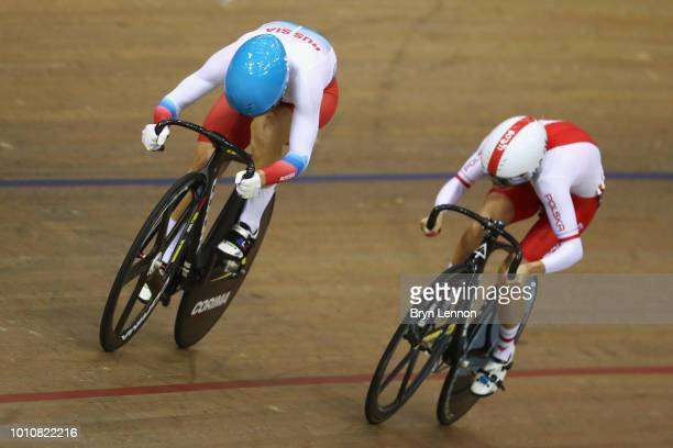 Urszula Los of Poland and Anastasiia Voinova of Russia compete in the Sprint Women 1/8 final on Day 3 of the European Championships Glasgow 2018 in...