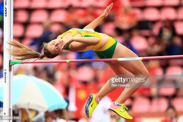 Urte Bacianskaite of Lithuania in action during the womens heptathlon high jump on day three of The IAAF World U20 Championships on July 12 2018 in...