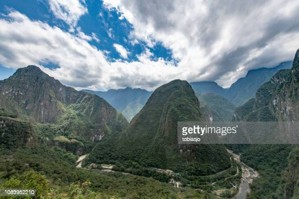 urubamba river and hills at aguas calientes - peruvian amazon stock pictures, royalty-free photos & images