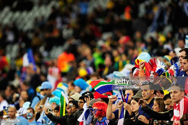 Uruguay and France fans gather for the 2010 FIFA World Cup South Africa Group A match between Uruguay and France at Green Point Stadium on June 11,...