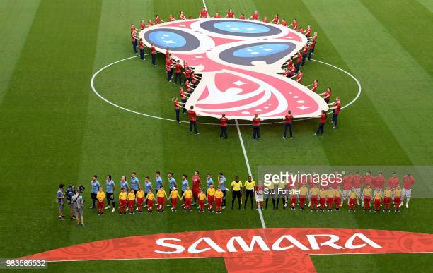 Uruguay and Russia line up prior to the 2018 FIFA World Cup Russia group A match between Uruguay and Russia at Samara Arena on June 25 2018 in Samara...