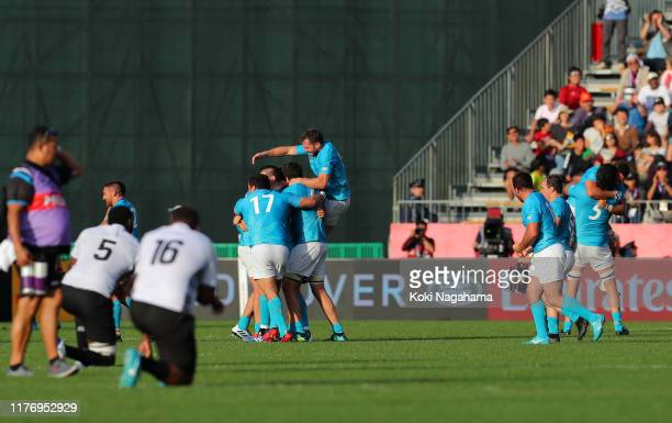 Uruguay celebrate after winning the Rugby World Cup 2019 Group D game between Fiji and Uruguay at Kamaishi Recovery Memorial Stadium on September 25...