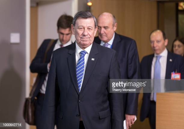 Uruguay Chancellor Rodolfo Nin Novoa is leaving at the end of an EUCELAC Foreign Ministers meeting at the European Council on 17 July 2018 in...