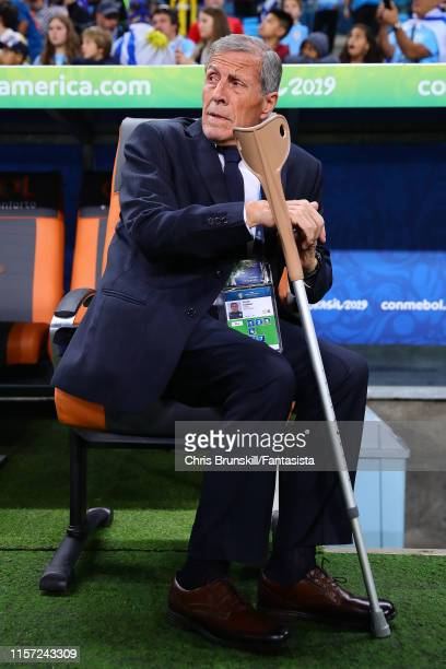 Uruguay coach Oscar Tabarez looks on during the Copa America Brazil 2019 group C match between Uruguay and Japan at Arena do Gremio on June 20 2019...