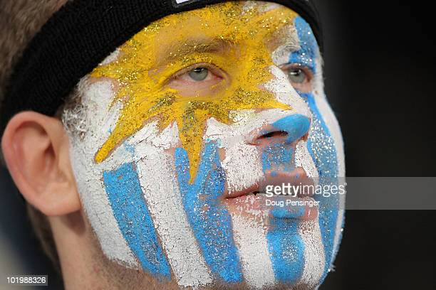 Uruguay fan attends the 2010 FIFA World Cup South Africa Group A match between Uruguay and France at Green Point Stadium on June 11 2010 in Cape Town...