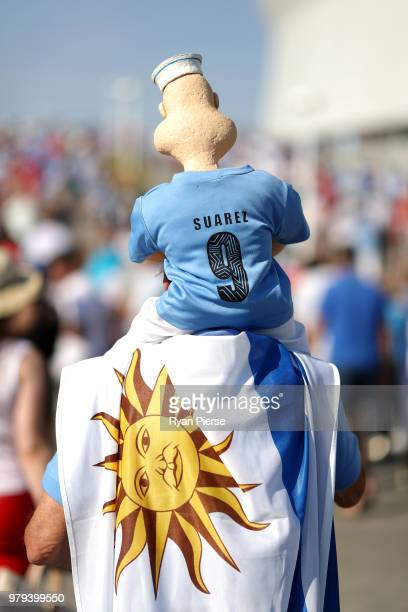 Uruguay fan enjoys the pre match atmosphere prior to the 2018 FIFA World Cup Russia group A match between Uruguay and Saudi Arabia at Rostov Arena on...