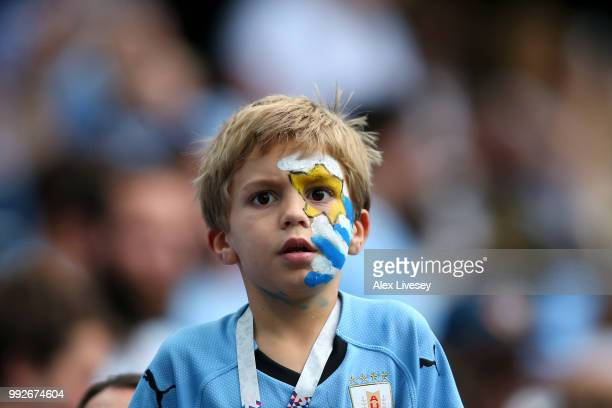 Uruguay fan enjoys the pre match atmosphere prior to the 2018 FIFA World Cup Russia Quarter Final match between Uruguay and France at Nizhny Novgorod...