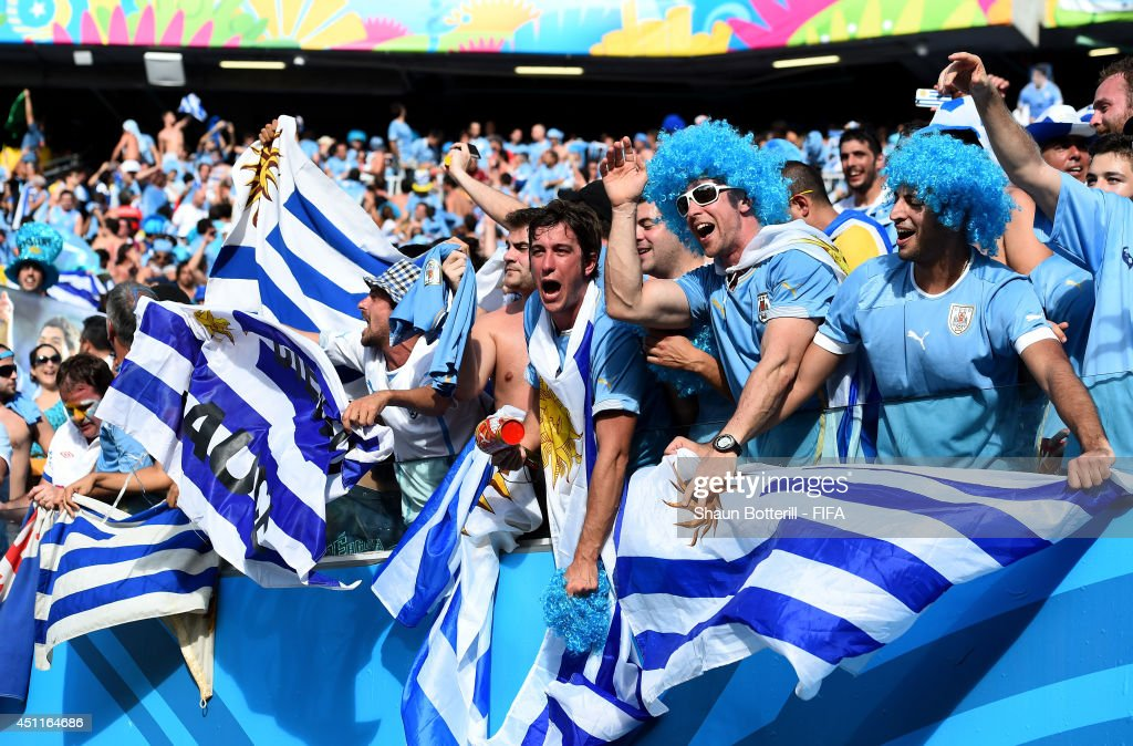 Uruguay fans celebrate the win after the 2014 FIFA World Cup Brazil Group D match between Italy and Uruguay at Estadio das Dunas on June 24, 2014 in Natal, Brazil.