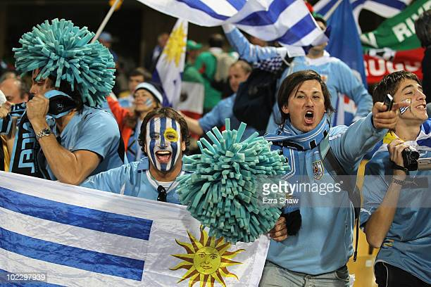 Uruguay fans celebrate victory after the 2010 FIFA World Cup South Africa Group A match between Mexico and Uruguay at the Royal Bafokeng Stadium on...