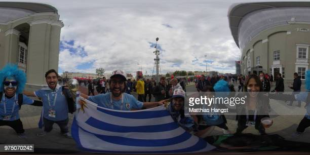 Uruguay fans enjoy the pre match atmosphere outside the stadium during the 2018 FIFA World Cup Russia group A match between Egypt and Uruguay at...