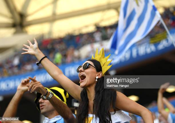 Uruguay fans enjoy the pre match atmosphere prior to the 2018 FIFA World Cup Russia group A match between Uruguay and Saudi Arabia at Rostov Arena on...