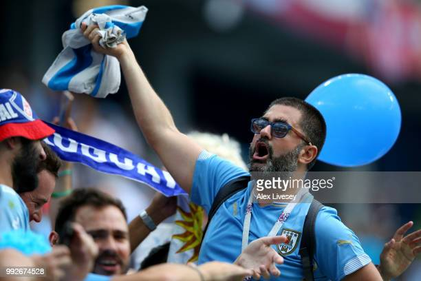 Uruguay fans enjoy the pre match atmosphere prior to the 2018 FIFA World Cup Russia Quarter Final match between Uruguay and France at Nizhny Novgorod...