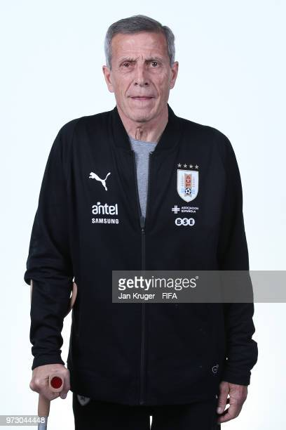 Uruguay manager Oscar Tabarez poses for a portrait during the official FIFA World Cup 2018 portrait session at Borsky Sport Centre on June 12 2018 in...
