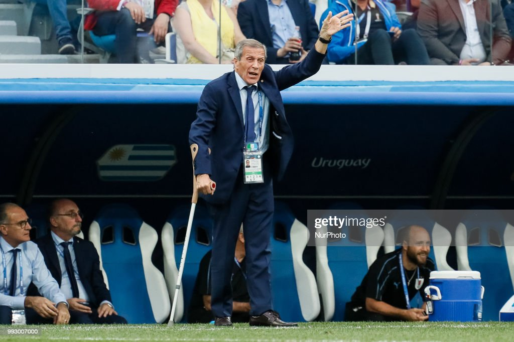 Uruguay national team head coach Oscar Tabarez gestures during the 2018 FIFA World Cup Russia Quarter Final match between Uruguay and France on July 6, 2018 at Nizhny Novgorod Stadium in Nizhny Novgorod, Russia.
