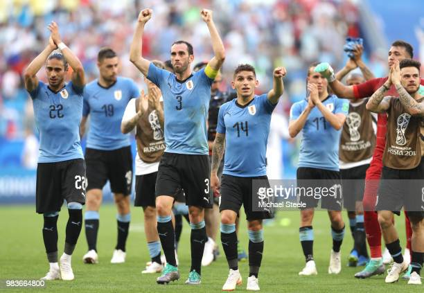 Uruguay players acknowledge the fans following the 2018 FIFA World Cup Russia group A match between Uruguay and Russia at Samara Arena on June 25...