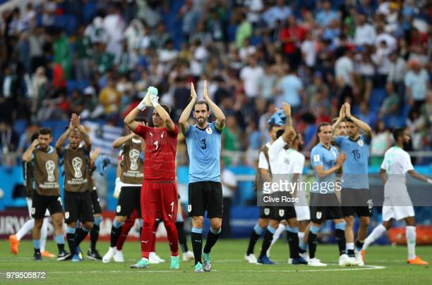 Uruguay players acknowledges the fans following the 2018 FIFA World Cup Russia group A match between Uruguay and Saudi Arabia at Rostov Arena on June...