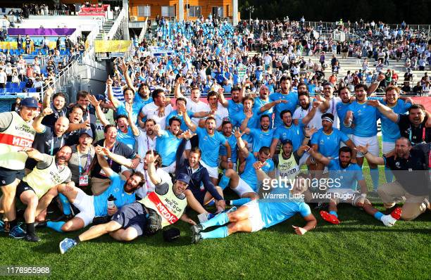 Uruguay players and staffs celebrate after the Rugby World Cup 2019 Group D game between Fiji and Uruguay at Kamaishi Recovery Memorial Stadium on...