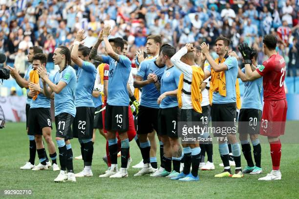 Uruguay players applauds fans after the 2018 FIFA World Cup Russia Quarter Final match between Uruguay and France at Nizhny Novgorod Stadium on July...