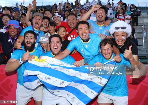Uruguay players are embraced by local fans after winning the Rugby World Cup 2019 Group D game between Fiji and Uruguay at Kamaishi Recovery Memorial...