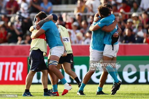 Uruguay players celebrate after the Rugby World Cup 2019 Group D game between Fiji and Uruguay at Kamaishi Recovery Memorial Stadium on September 25...