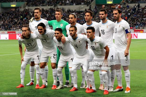 Uruguay players line up for the team photos prior to the international friendly match between Japan and Uruguay at Saitama Stadium on October 16 2018...