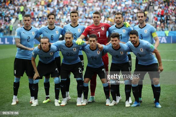 Uruguay pose for a team photo during the 2018 FIFA World Cup Russia Quarter Final match between Uruguay and France at Nizhny Novgorod Stadium on July...