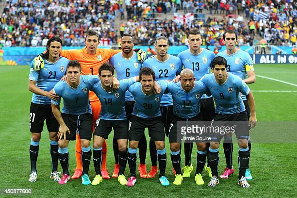 Uruguay pose for a team photo prior to the 2014 FIFA World Cup Brazil Group D match between Uruguay and England at Arena de Sao Paulo on June 19 2014...