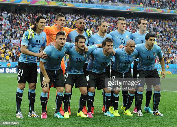 Uruguay pose for a team photograph ahead of the 2014 FIFA World Cup Brazil Group B match between Uruguay and England at Arena de Sao Paulo on June 19...