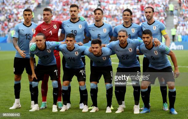 Uruguay pose prior to the 2018 FIFA World Cup Russia group A match between Uruguay and Russia at Samara Arena on June 25 2018 in Samara Russia