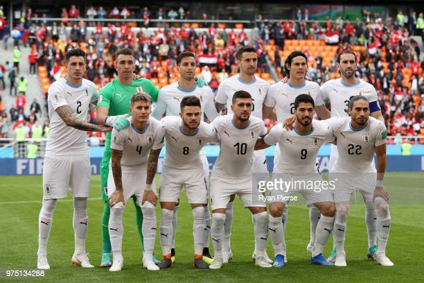 Uruguay team lines up prior to the 2018 FIFA World Cup Russia group A match between Egypt and Uruguay at Ekaterinburg Arena on June 15 2018 in...