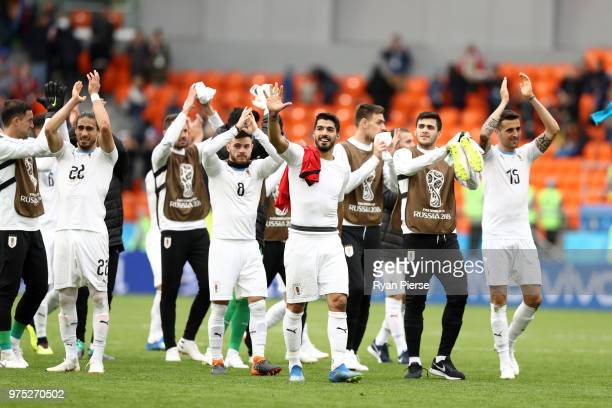Uruguay team show appreciation to the fans following their win during the 2018 FIFA World Cup Russia group A match between Egypt and Uruguay at...