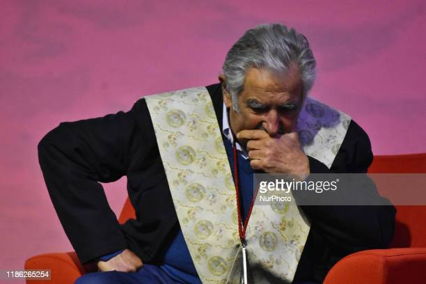 Uruguayan ex-president Jose Mujica during a ceremony receives the Honoris Causa Doctorate award at Universidad Ibero on December 2, 2019 in Mexico...