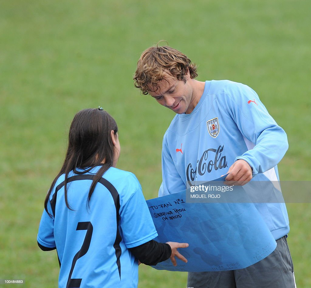 Uruguayan footballer Diego Lugano after a training session at the Uruguayan Football Association's sports complex in the department of Canelones, near Montevideo, on May 24, 2010. Uruguay's South Africa 2010 World Cup campaign kicks off against France in Cape Town on June 11th.