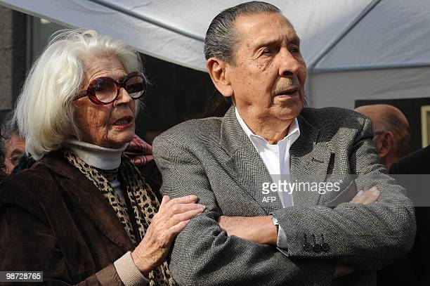 Uruguayan former footballer Alcides Ghiggia and Ines Zorrilla sister of renown actress 'China' Zorrilla takes part in the opening ceremony of the...