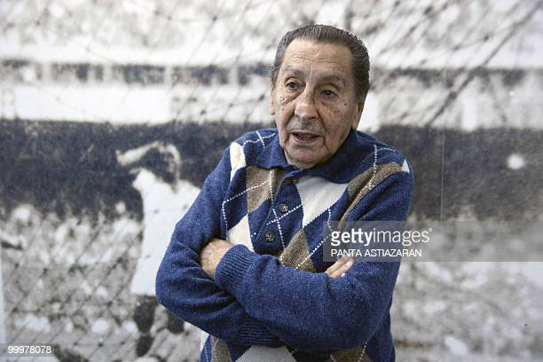 Uruguayan former footballer Alcides Ghiggia member of the national team that won the 1950 World Cup at Maracana stadium in Rio de Janeiro Brazil...