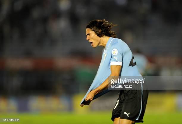 Uruguayan forward Edinson Cavani celebrates after scoring against Ecuador during their Brazil 2014 FIFA World Cup South American qualifier match held...
