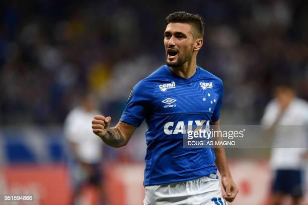 Uruguayan Giorgian De Arrascaeta of Brazilian team Cruzeiro celebrates after scoring against Chile's Universidad de Chile during their Copa...