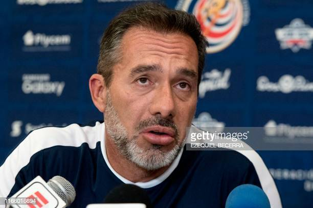 Uruguayan Gustavo Matosas head coach of Costa Rica's national football team speaks during a press conference in San Jose on September 04 2019 Matosas...