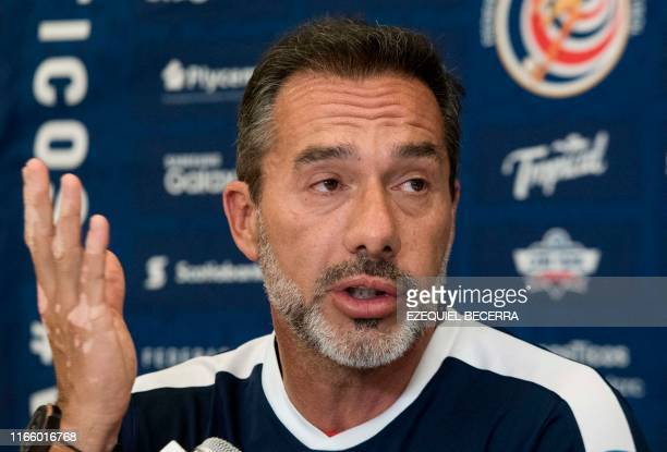 Uruguayan Gustavo Matosas head coach of Costa Rica's national football team gestures during a press conference in San Jose on September 04 2019...
