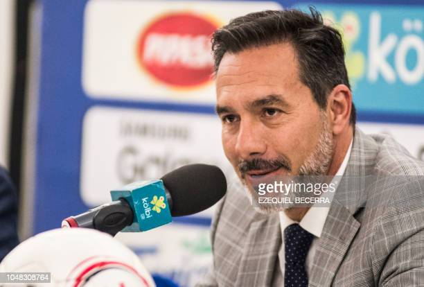 Uruguayan Gustavo Matosas speaks during his presentation as the new head coach of Costa Rica's national football team in Heredia Costa Rica on...