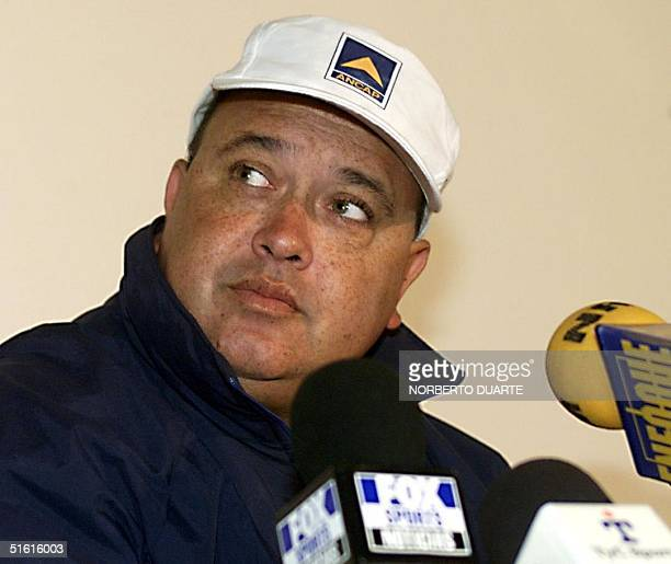 Uruguayan head coach Victor Pua listens to a question 16 July during a press conference in LuqueParaguay Uruguay will face Brazil 18 July in the...