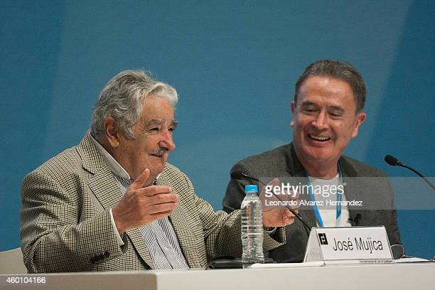 Uruguayan Pesident Jose Mujica speaks during an interview with journalist Ricardo Rocha as part of Guadalajara International Book Fair on December...