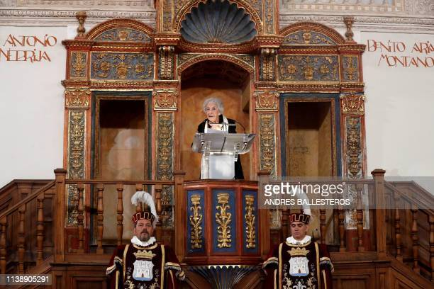 Uruguayan poet Ida Vitale delivers a speech after receiving the Cervantes Literature Prize during a ceremony at the University of Alcala in Madrid on...