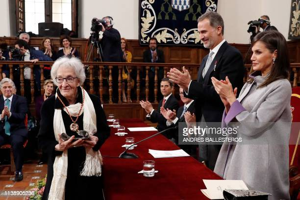 Uruguayan poet Ida Vitale receives the Cervantes Literature Prize from King Felipe VI of Spain and his wife Queen Letizia during a ceremony at the...